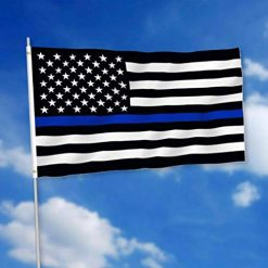 Caiuet Black American Police Stars Stripes Sign USA Banners Flag Flags