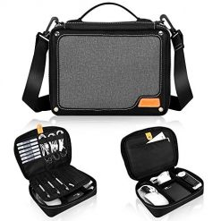 Electronic Accessories Organizer Cable Organizer Bag, Skycase Travel Gadget Bag for Cables, Cord, USB Flash Drive, Plug, Power Bank, with Detachable Shoulder Strap and Padded Dividers, Black