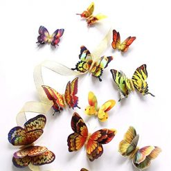 YENJO 3D Double Layered Simulation Butterfly Shape Wall Sticker Home Decoration Wall Stickers(Random Color 12 PCS)