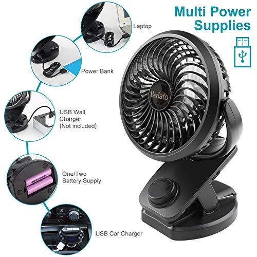 USB Clip Fan Cooler with Rechargeable Battery, WarmClean Clip-on Mini  Portable Cooler 360 Degree Rotation for Baby Stroller, Office, Car, Gym,  Travel,