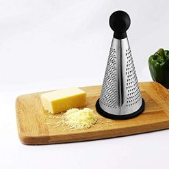 TOPS HOME Cheese Grater,3-Sided Stainless Steel 9 Inch Grater with Cleaning Brush for Cheese,Ginger,Vegetables