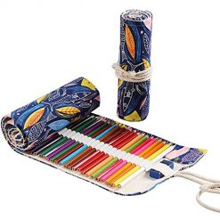 Pencil Roll up Case,36 Slot Color Pencil Organizer,Canvas Colored Pencil Holder Wrap,Pen Bag Holder Organizer Storage for Artists Coloring Drawing Pencils (Fish,1 Piece/Pack-NO Pencil Included)