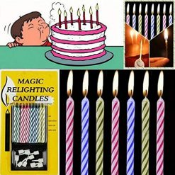 Idomeo 10pcs Magic Relighting Candles Birthday Cake Candles Party Trick Joke w/Holder Candles