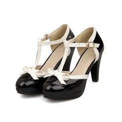 ForeMode Fashion Women T-Strap High Heels Bow Platform Round Toe Pumps Patent Leather Summer Lolita Sweet Shoes(Black,6)