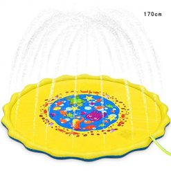 Queind Sprinkle and Splash Play Mat, Portable Outdoor Inflatable Water Spray Play Mat Children Play Mat Beach Toys