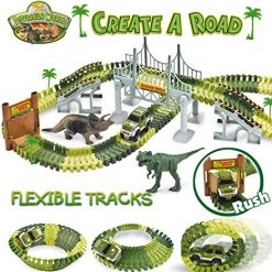 STNTUS INNOVATIONS Dinosaur Toys, Build and Create a Road in Jurassic World, 142 Flexible Race Tracks with Battery Operated Car, Bridge and 2 Dinosaurs, Awesome Birthday Gifts for Boys & Girls