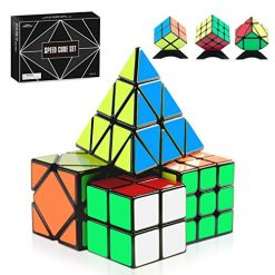 Monilon Speed Cube Set, [4 Pack] Kids Toys Magic Cube Bundle Smooth Brain Teaser Puzzles 2X2 3X3 Pyramid Skewb Pack, Gifts Toys for Kids Boys Girls Adults Ages 6 7 8 9 10 11 12 + Years Old