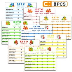 8 Pcs Keto Cheat Sheet Magnets, Ketogenic Diet Magnets,Keto Snacks, Protein Carb Fat Reference Charts Guide Cookbook, Reference Charts for Ingredients Including Meat, Vegetables, Nuts, Fruit etc.