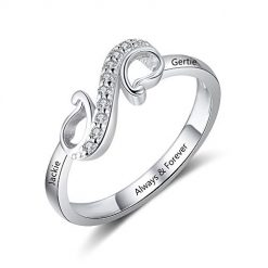 Ashleymade Free Engraving Infinity Knot BFF Friendship Rings for Women Personalized Sisters Best Friends Rings Custom Promise Name Rings Engagement Wedding Bands