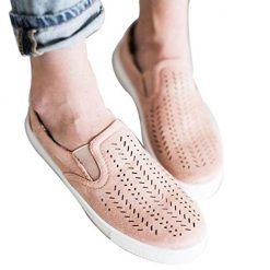 OYTRO Women Fashion Artificial Leather Flat with Hollow Out Breathable Sneakers Fashion Sneakers