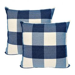 USTYLES 2PCS Pillow Covers 20 X 20 Decorative Throw Pillows Covers Cotton Line Square Cushion Cases for Sofa Chair Car Bench Bed Office Bar Indoor Outdoor Home Decoration Party Déc(Dark Blue + White)