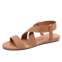YENJO Women Fashion Artificial Leather Ankle Strap Low Heel Solid Sandals Flats