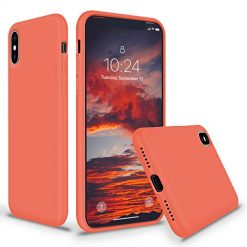 SURPHY iPhone Xs Max Silicone Case, Slim Liquid Silicone Protective Phone Case Cover (Full Body Thin Case with Microfiber Lining) Compatible with Apple iPhone Xs Max 6.5, Nectarine