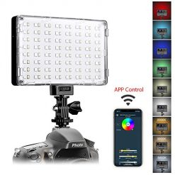 GVM RGB LED Camera Light Full Color Output Video Light with APP Control CRI97 Dimmable 3200K-5600K Brightness Panel for YouTube DSLR Camera Camcorder, with Battery, Charger, Filter, LCD Display