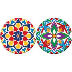Absorbent Stone Car Coasters for Drinks, Beautiful Mandala Style Absorb Condensation for protect the Car cup holder and keep your car clean,Small 2.6