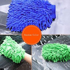Pesters 1Pc Durable Practical Water Absorption Solid Pattern Car Wash Gloves Sponges & Mitts