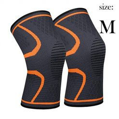 Knee Sleeve,711TEK Knee Support Brace for Joint Pain and Arthritis Relief, Improved Circulation Compression - Wear Anywhere(Orange-M-2Pcs)