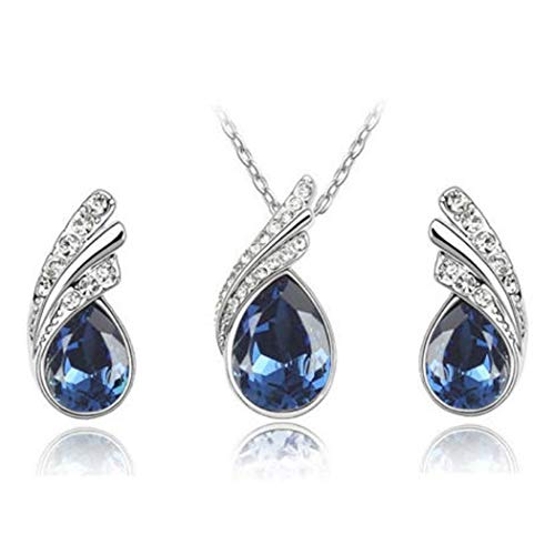Asatr Women Elegant Fashion Rhinestone Inlaid Water Drop Stud Earring Necklace Set Jewelry Sets