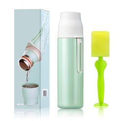 Elegant Life Vacuum Insulated Stainless Steel Water Bottle 17 oz Cold 24 Hours Hot 12 Hours Double Wall Thermos Leak Proof Sports Water Bottle -Match with a Cleaning Brush (Green)