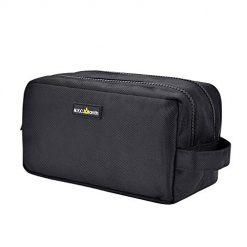 Toiletry Bag for Men, Makeup Bag for Women, Waterproof Wash bag, Travel Bag, Water Resistant Small Shaving Bag, Portable Shaving Dopp Kit for Men (Black Zipper)