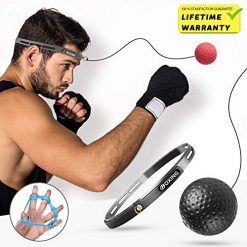 Boxing Reaction Fight Reflex Stress Ball,i-FSK Training Ball Perfect for Reaction, Agility, Punching Speed, Fight Skill and Hand Eye Coordination Training with Adjustable Headband Finger Strengthener