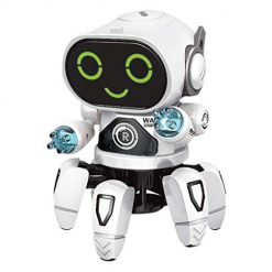 Pesters Children Dancing Robot 7-Color Light Music Six-Claw Fish Electronic Toy Gift Remote- & App-Controlled Figures & Robots
