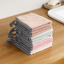 Mandii Home Kitchen Double Side Coral Fleece Dish Washing Cleaning Cloth Towel Rag Wipe Sponges