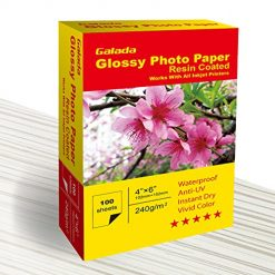 Galada Photo Paper 100 Sheets 4x6 Photo Paper High Glossy Vivid Color Waterproof Photographic Paper Works with All Inkjet Printers