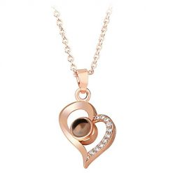 Ladiy Women Fashion Heart Love Shape Rose Gold Silver Pendant Necklace Pendant Necklaces