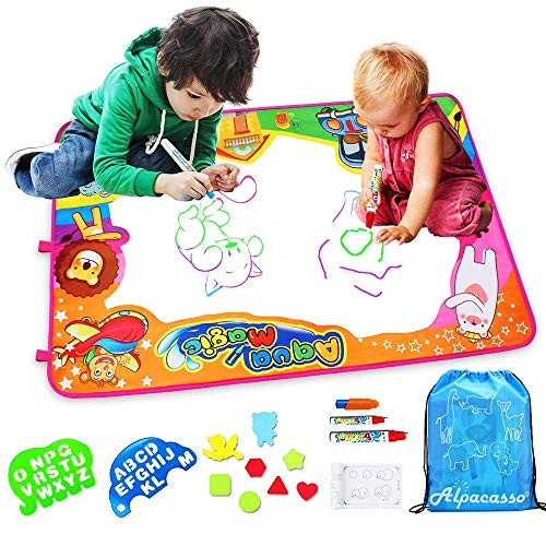 Special Processing Water Doodle Mat Kids Toys Mess Free Coloring Mat Toddler Educational Toys Large Size 34 5 X 22 5 Aqua Magic Painting Mat With 3