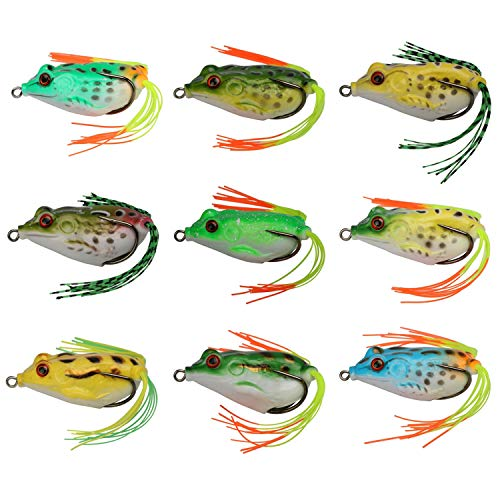Goture Topwater Frog Lures Fishing Soft Bait Kit Crankbait with Gift Packaging for Snakehead Bass 9 Pieces