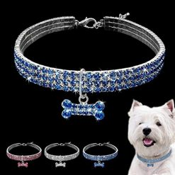 erholi Rhinestone Collar for Dog Bone-Shaped Pendant Perfect for Show and Daily Walking Basic Collars