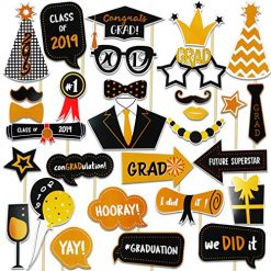 Dadoudou Graduation Photo Booth Props 30Pcs 2019 Glitter Graduation props Party Supplies Props Decorations Grad Decor with Sticks for Kids Boys or Girls