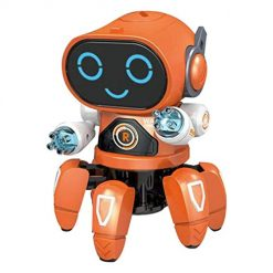 Etuoji Children Dancing Robot 7-Color Light Music Six-Claw Fish Electronic Toy Gift Remote- & App-Controlled Figures & Robots