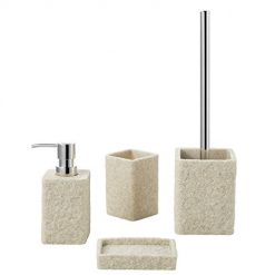 Bathroom Accessories Set, 4-Piece Resin Sandstone Bath, Luxury Design Bath Collection Ensemble Sets, Includes Decorative Soap Dispenser, Toothbrush Holder, Toilet Brush, Soap Dish, Bathroom Gift SetBathroom Accessories Set, 4-Piece Resin Sandstone Bath, Luxury Design Bath Collection Ensemble Sets, Includes Decorative Soap Dispenser, Toothbrush Holder, Toilet Brush, Soap Dish, Bathroom Gift Set