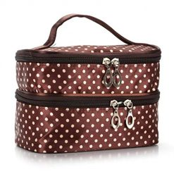 Ladiy Portable Dual Layers Storage Bag Dot Printed Zip Waterproof Travel Cosmetic Bag Cosmetic Bags