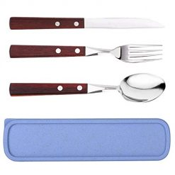 Flatware Sets - 3 Pieces Wood Handle Flatware Set Knife Fork Spoon Stainless Steel Portable Travel Utensil Set for Travel/Camping Office Lunch with Carry Case (Brown 3 Pieces)