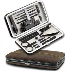 manicure set Professional 15 Pcs Stainless Manicure Clipper Care foot nail kit ClippersPedicure Set Grooming Familife Travel Tools(gray)