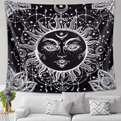 Letsroam Sun and Moon Tapestry Psychedelic Tapestry Wall Tapestry Black and White Celestial Tapestry Astrology Dorm Decor Tapestry Wall Hanging for Bedroom Dorm Room