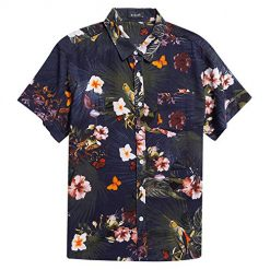 MCEDAR Men's Hawaiian Short Sleeve Shirt Aloha Flower Print Casual Button Down Standard Fit Beach Shirts (NAVY508-7, Small) ¡­