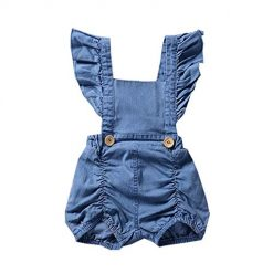 Ladiy Children Girls Casual Square Collar Short Sleeve Solid Ruffles Romper Outfits Bodysuits