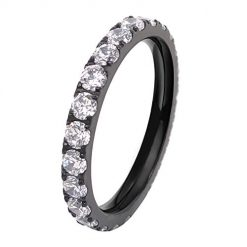 FlameReflection Ladies Titanium Eternity Engagement Band Wedding Ring with Pave Set Cubic Zirconia