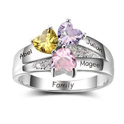Mothers Ring with 3 Heart Simulated Birthstones Engraved 3 Names Personalized Promise Rings for Her Mom Jewelry (7.5)
