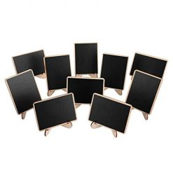 YENJO 10 Pcs/Pack Coffee Bar Mini Blackboard Erasable Useful Wood Shop Message Board Chalkboards Chalkboards