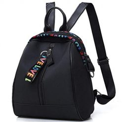 YENJO Women Girls Backpack Casual Patchwork Tassel Zip Big Capacity Bag Backpacks