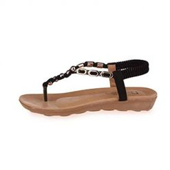 Ladiy Women Fashion Artificial Leather Ankle Strap Rome Flat Thong Sandals Flats