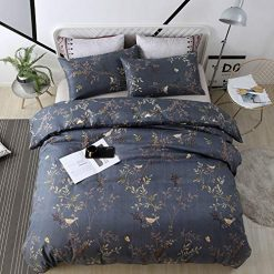 WeiWy Textile King Duvet Cover Set - 3 Piece(Without Comforter Inside) - Luxury Soft Microfiber - Dark Blue and Gold Floral Pattern