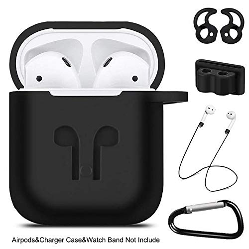 Airpods Case, 5 in 1 Airpods Protective Silicone Cover and Skin Compatible for Apple AirPods Charging Case with Airpods Anti-Lost Strap, Airpods Ear Hook, Watch Band Holder, Keychain