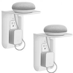 WALI Wall Outlet Shelf Standard Vertical Duplex GFCI Décor Outlet with Cable Channel Charging for Cell Phone, Dot 1st and 2nd 3rd Gen, Google Home, Speaker up to 10lbs (OLS002-W), 2 Packs, White