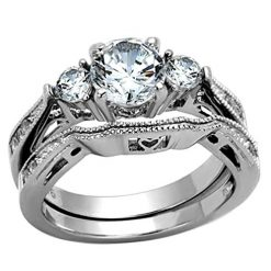 Stainless Steel White Round Cut Cubic Zirconia Wedding Ring Set Three-Stone size 8